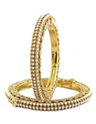 Indian Fashion Style Gold Plated Beautiful Polki Bangle For Girls Gift Jewellery