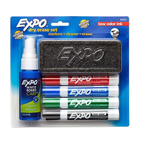 EXPO Low-Odor Dry Erase Set, Chisel Tip, Assorted Colors, 6-Piece (Dry Erase Marker Starter Kit compare prices)