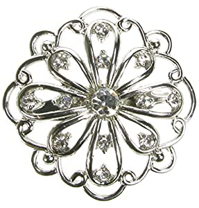 Maaria B's Accessories Silver Diamante Vintage Flower Brooch Shoe Pin Bridal Cake Decoration