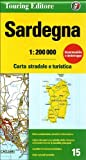 Sardinien Strassenkarte, Karte, Landkarte, TCI (Touring Club Italiano) Blatt 15, Sardegna / Sardinien, Cagliari, Sassari, Olbia, Gallura, 1:200.000