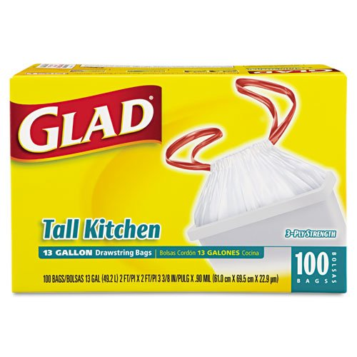 Glad Products - Glad - Drawstring Tall Kitchen Bags, 13 gallon, .95mil, 24 x 48, White, 100/Box - Sold As 1 Box - No clumsy twist ties, uses easy-open/close drawstring. - Three-ply strength. -
