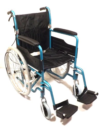 Lightweight Aluminium Folding Self Propelled Wheelchair in Blue+FREE PU WHEELCHAIR CUSHION VALUE £20.