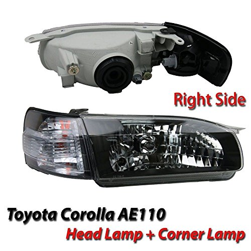 Toyota Corolla Sedan AE110 E110 Headlight Lamps 1996-1998 Black Head Lights Replacement Assembly (Ae110 Toyota Corolla Parts compare prices)