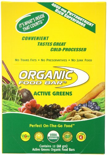 Organic food bar active greens 2 4 ounce pack of 12 for Organic food bar