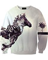 JTC Lady Long Sleeve Round Neck Blouse Tops Animal Printed Sweatshirt Horse