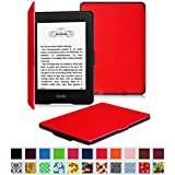 Fintie Kindle Paperwhite SmartShell Case - The Thinnest and Lightest Leather Cover for All-New Amazon Kindle Paperwhite (Fits All versions: 2012, 2013, 2014 and 2015 New 300 PPI), Red