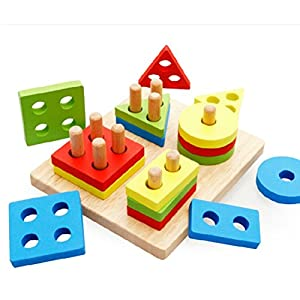 YIMAN™ Geometric Shapes Wooden Blocks Educational and Recognition Intelligence Toys for Kids (Set column Block 2)