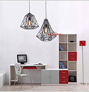 akldigital modern industrial style retro diamond bird cage pendant lamp ceiling light lampshade black by akldigital