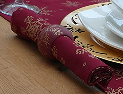 Pack Of 4 Christmas Table Napkins In Wine Colour with Gold Snowflakes
