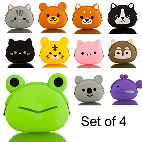 Micom Mini Candy Color Cute Animal Change Silicone Coin Purse Case, Set of 4