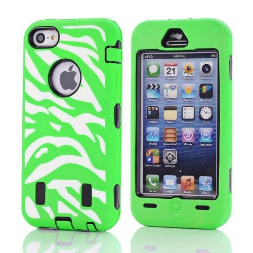 Meaci® Apple Iphone 5C Hard Case Zebra Stripes 3In1 Combo Hybrid Defender High Impact Body Armorbox Pc&Silicone Material 1X Diamond Anti-Dust Plug Stopper-Random Color (Green)