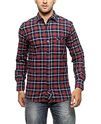 Groove Men Cotton Red Casual Shirt (X-Large)