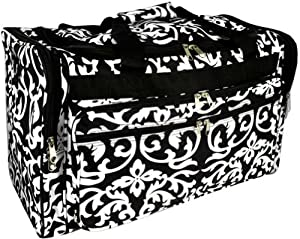 LD Bags Womens Damask Black/White Duffel Bag, 22