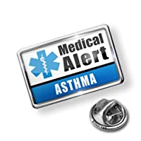 Pin Medical Alert Blue Asthma - Lapel Badge - NEONBLOND by NEONBLOND
