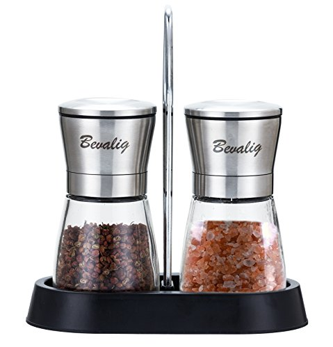 Salt and Pepper Spice Grinder Set with Unique Durable Stand – Premium Adjustable Coarseness Spice Grinder Mill Shaker – Best for your Himalayan Salt, Peppercorn and Spices