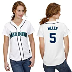 Brad Miller Seattle Mariners Home Ladies Replica Jersey by Majestic by Majestic