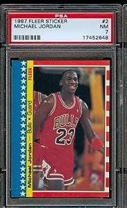 1987 Fleer Sticker #2 Michael Jordan Chicago Bulls Professionally Graded PSA 7 NM