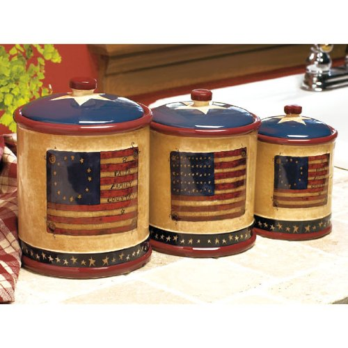 americana patriotic kitchen canister set by