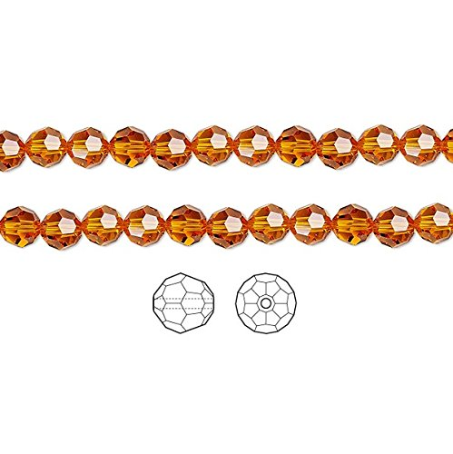 Swarovski Crystal Beads Tangerine 5000 Faceted Round 4mm Package of 12