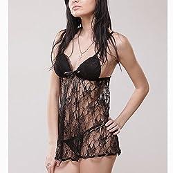 Nitein Women's Babydoll Dress (Black_Free Size)