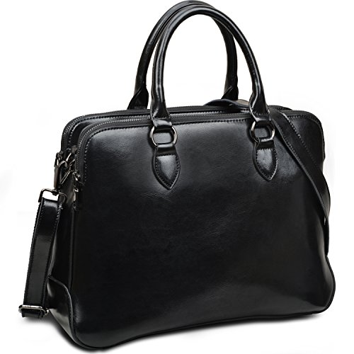 Yaluxe-Damen-Doppel-Reiverschluss-echtes-Leder-elegant-Bro-HenkelTasche-Umhngetasche-Schultertasche-fit-13-Laptop-schwarz