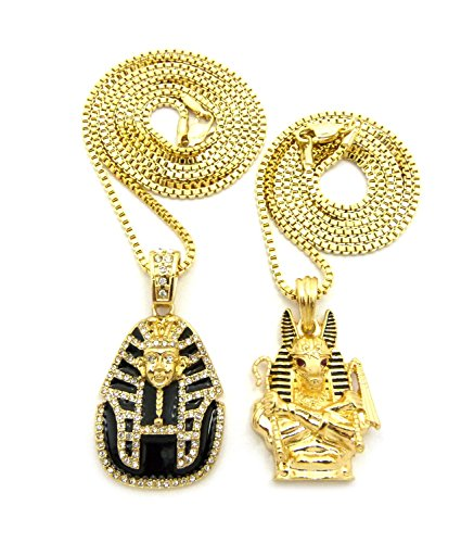 [Anubis Holding Crook & Flail & Black Headdress Pharaoh Pendant Set w/ 2mm Box Chains in Gold-Tone] (Pharaoh Headdress)