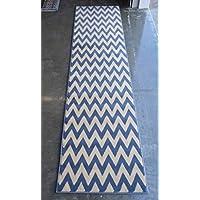 Chevron Area Rug Runner Design #440 Blue