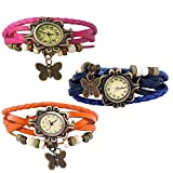 Combo of 3 VB-310 Vintage Butterfly Orange + Pink + Blue