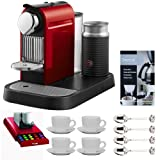 Nespresso C121-US4-RE-NE1 Espresso Maker w/ Aeroccino Milk Frother (Red) + Nifty 5510 Nespresso 40 Capsule Coffee Carousel + Accessory Kit