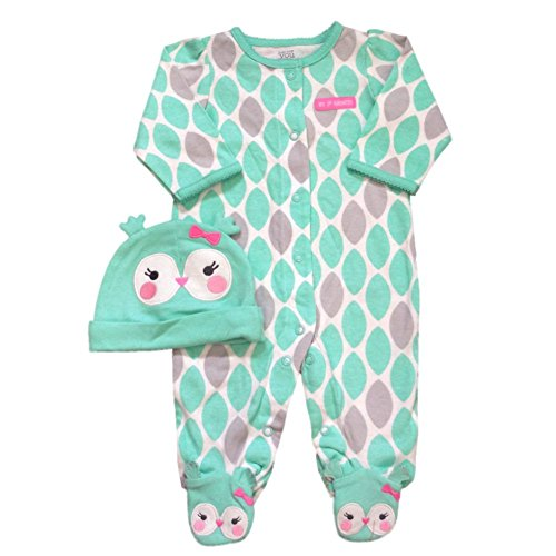 Carters Infant Girls First Halloween Outfit Green & Gray Owl Sleeper & Hat Set