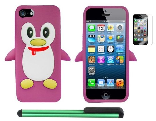 Best  Light Pink Penguin Move On Future Silicone Skin Premium Design Protector Soft Cover Case Compatible for Apple Iphone 5 (AT&T, VERIZON, SPRINT) + Screen Protector Film + Combination 1 of New Metal Stylus Touch Screen Pen (4