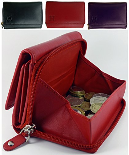 Gift Boxed Ladies Quality Leather Purse With Zip Around Change Tray