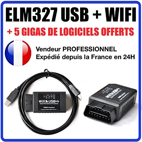 Koffer Diagnose ELM327USB + WIFI-geeignet für OBD2100% Französisch Autocom Delphi Autel VAG COM