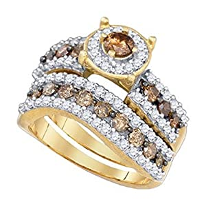 1.7 cttw 10k Yellow Gold Cognac Brown Diamond Round Halo Wedding Ring Set Bridal Rings ((L1075) Womens Size 10.75)