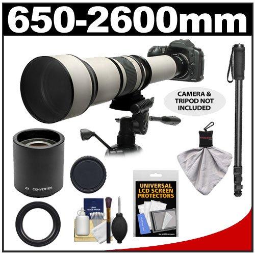 Rokinon 650-1300Mm F/8-16 Telephoto Zoom Lens With 2X Teleconverter (=650-2600Mm) + Monopod Kit For Canon Eos 60D, 7D, 5D Mark Ii Iii, Rebel T3, T3I, T4I Digital Slr Cameras