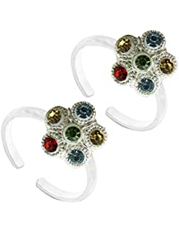 Colourful Toe Ring Antique Designer German Silver Toe Ring Jewelry For Women