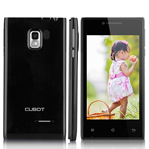 Cubot GT72+ Dual Core Dual SIM 3G-Smartphone Android 4.4 Handy ohne Vertrag 4,0 Zoll Screen 4G ROM WIFI 1.2GHz 2 Kameras Schwarz