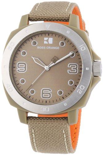 Hugo Boss Orange 1502288 Unisex Watch Analogue Quartz Dial Fabric Strap-Beige-Beige