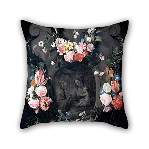 Loveloveu Pillow Cases Of Oil Painting Seghers, Daniel - Cartouche With The Virgin And Child And Saint Anne 20 X