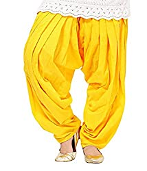 Shiva Collections Women's Cotton Patiala Salwar (scs1021_Yellow_Free Size)