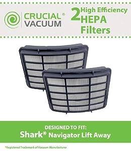 2 Shark Navigator Lift-Away Professional Vacuum NV355, NV356, NV356E, NV357, NV350E, NV400 Washable Post-Motor HEPA Filters; Replaces Shark Part# XHF350 ; Designed & Engineered by Crucial Vacuum