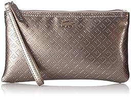 Lacoste Women\'s L.12.12 Concept Shiny Wristlet Clutch, Cinder, One Size
