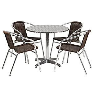 Flash Furniture Round Aluminum Indoor Outdoor Table with 4 Rattan Chairs, 31.5'' from Flash Furniture