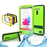 New LG G3 III Ip 68 Untra Kick-stand Waterproof Case,Nika Shop Full Body 6.6 Ft Underwater Attached Screen Protector Waterproof Water Resistant Hard Shell Heavy Duty Case Cover for Lg G3 III Phone, Defender Dirtproof Dustproof Snowproof Sweatproof Shockproof Hard Armor Triple Layer Protective Protection Cover Skin Case for Lg G3 Iii+ Free Screen Protect + Carry Strap (Nika shop-Green)