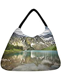 Snoogg Mirror Image Of Mountain Beach Tote Shopper Bag Handbag Shoulder