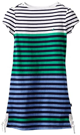 Nautica Girls 7-16 Jersey Stripe T-Shirt Dress, Medium Navy, 7