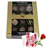 Valentine Chocholik's Belgium Chocolates - Graceful Assorted Truffles With Love Card And Rose