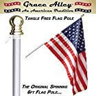 Flag Pole: Best Tangle Free Spinning Flagpole on Amazon! Residential or Commercial 6ft Flag Pole. Free Shipping for Prime Members. Aluminum Spinning Flag Pole (Silver) 6 Foot Brushed Aluminum. Wind Resistant / Rust Free. 1 Year No Hassle Warranty.