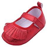 EOZY Zapatos Para Beb� Ni�as Cuero Brillante Primero Paso Andar Con Borlas Rojo Oto�o Pirmavera Longitud 12cm