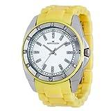 AK Anne Klein Women's 109179WTYL Silver-Tone Swarovski Crystal Accented Yellow Plastic Watch